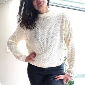 Cream Cable Knit Turtleneck Sweater   M